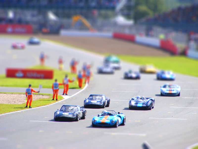 tilt shift race track