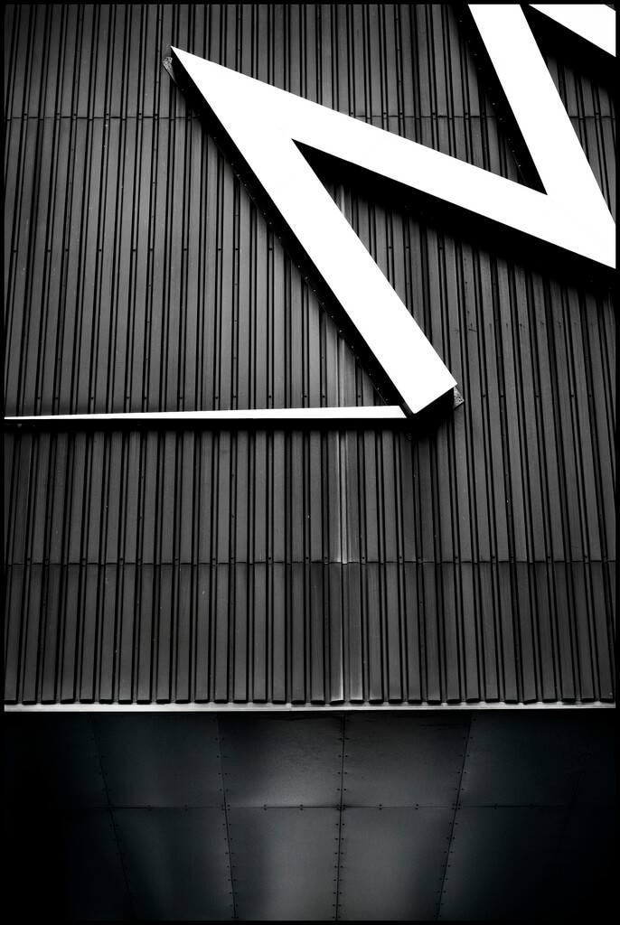 black and white abstract photo of letter M