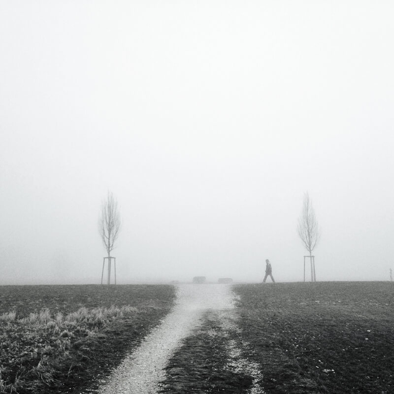black and white man in the fog