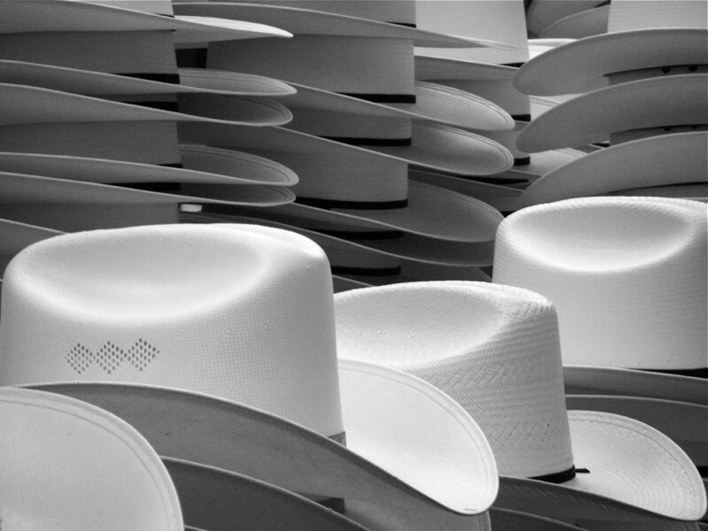 black and white hats
