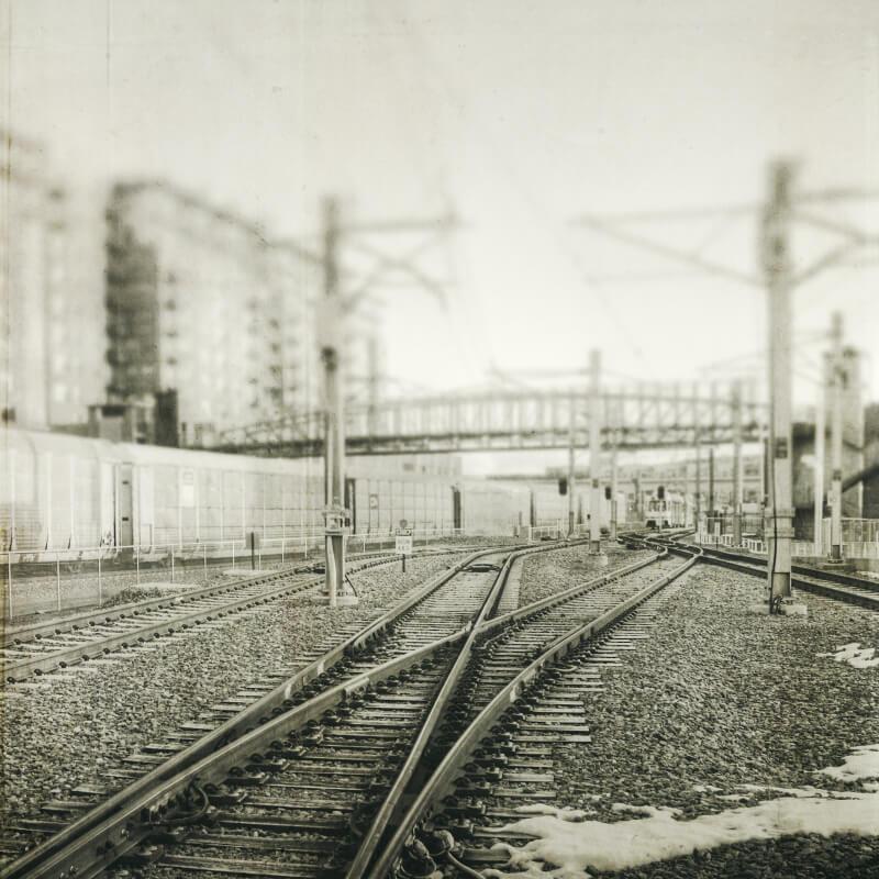 black and white railroad track