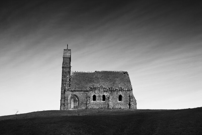 black and white church