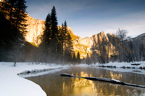 Merced River reflections at dawn, Yosemite National Park,