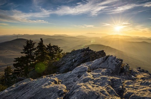 Grandfather Mountain Sunset Blue Ridge Parkway Western NC