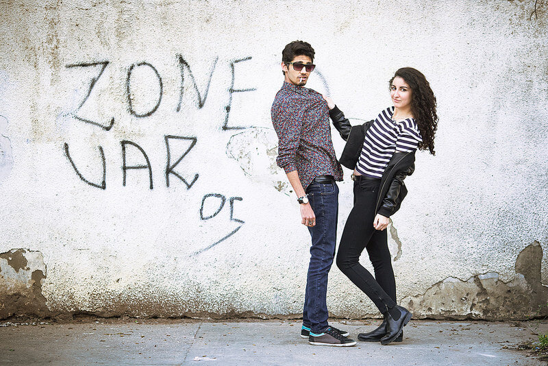 couple portrait with graffiti