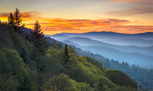 Great Smoky Mountains National Park - Morning Haze at Oconaluftee