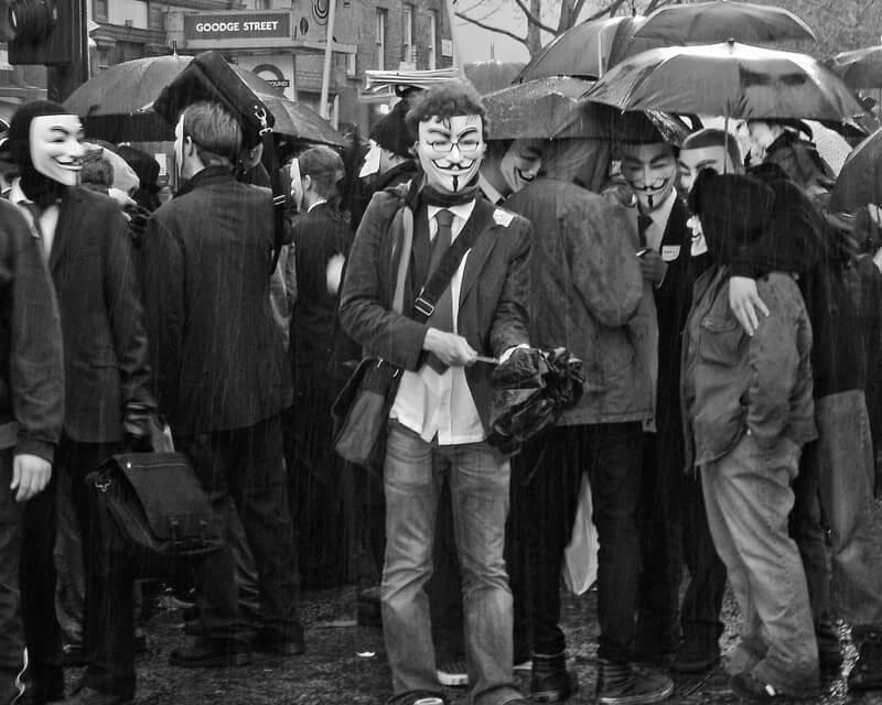 protesters in the rain