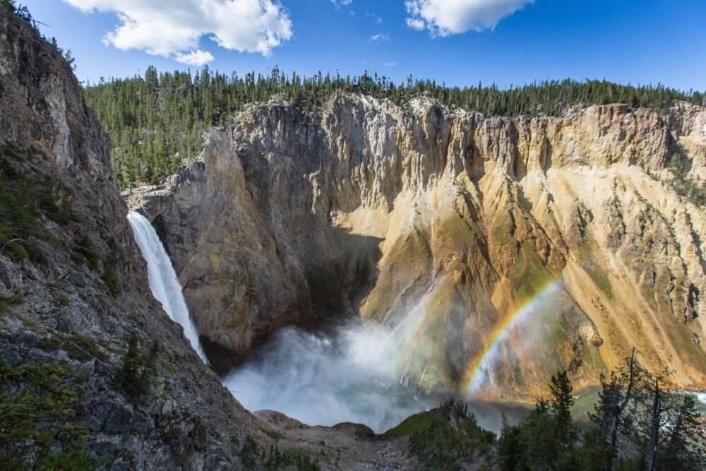 Yellowstone National Park - Double rainbow at the Lower Falls of the Yellowstone River