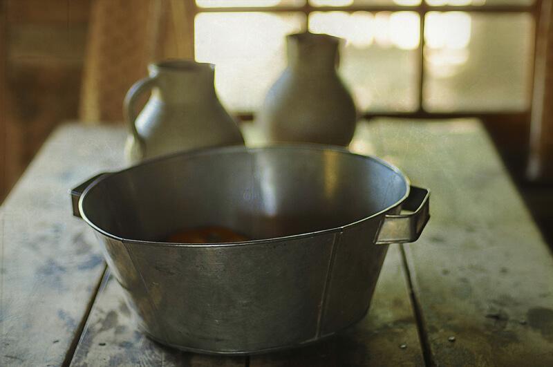 still life photography antique bucket