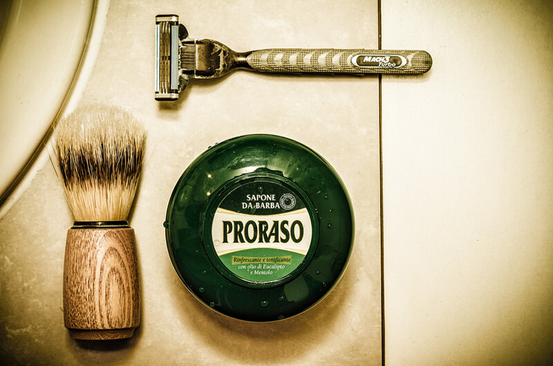 still life photography shaving equipment