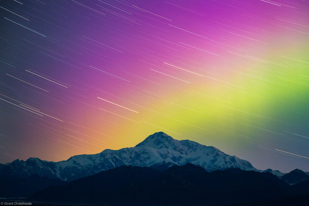Aurora Borealis over Alaska's Denali, the highest peak in North America.