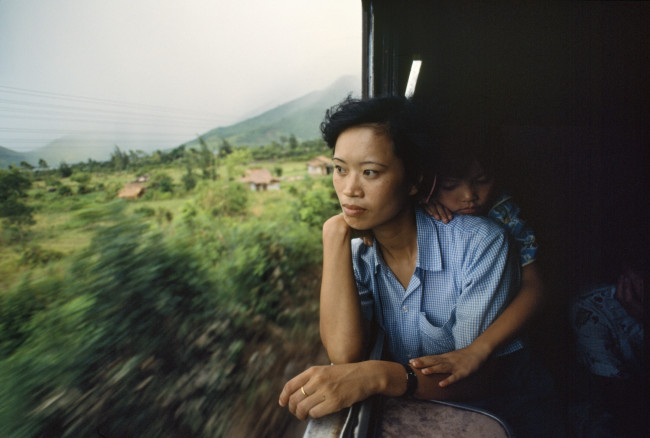 "Saigon-Hanoi Train, aka the ""Reunification Express"" approaches the Hải Vân Pass, Central Vietnam"