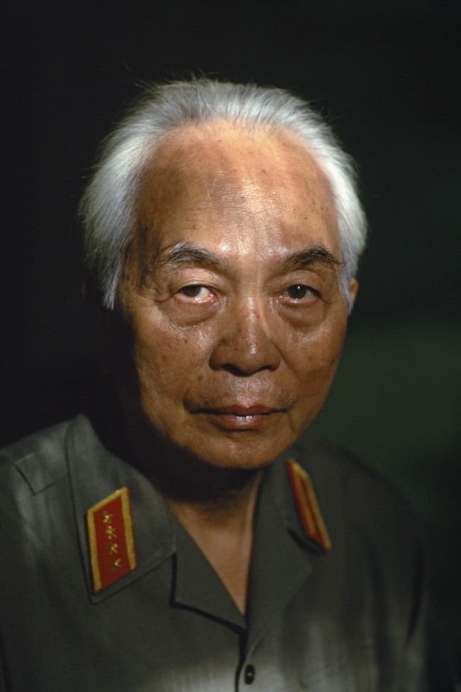 "Catherine Karnow's famous image of General Giap. The French called him the ""Snow-Covered Volcano."" July 1990."