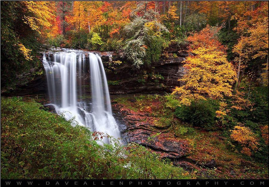 Dave Allen Photography - Autumn Waterfall Dry Falls - Highlands NC Waterfalls