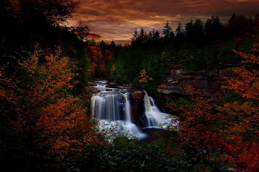 Forest Wander - Autumn Waterfall Sunset