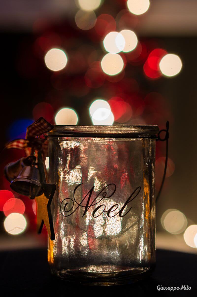 christmas jar with bokeh