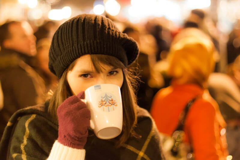 portrait of irish woman at a christmas market
