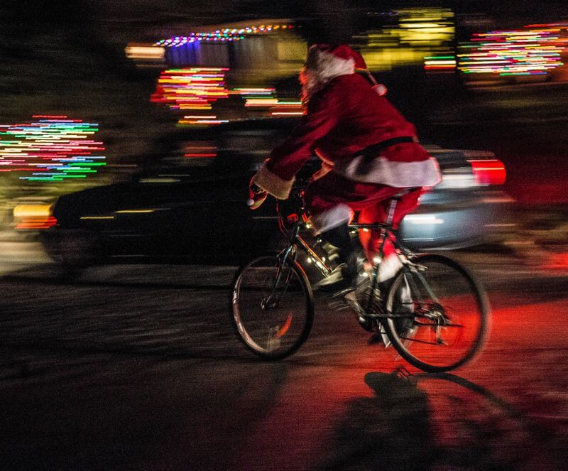 santa on a bicycle