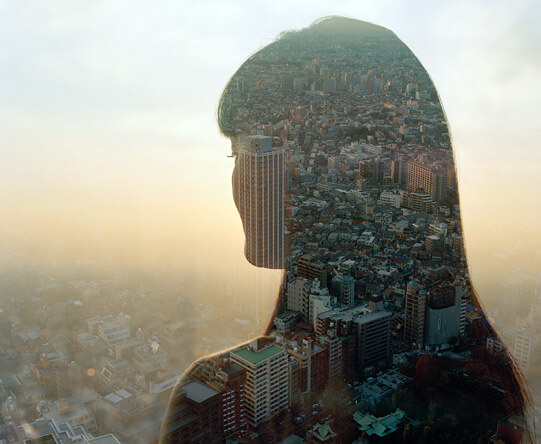 Jasper James - city portrait double exposure