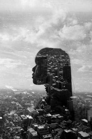 Jasper James - city portrait double exposure