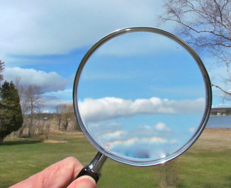 Magnifying clouds with a magnifying glass