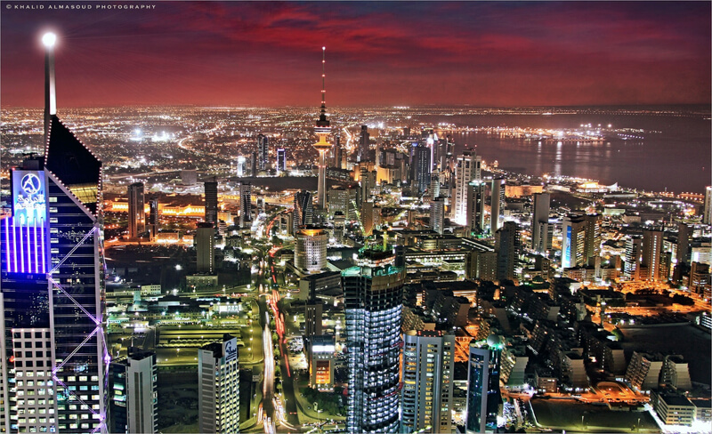 cityscape Kuwait City at night
