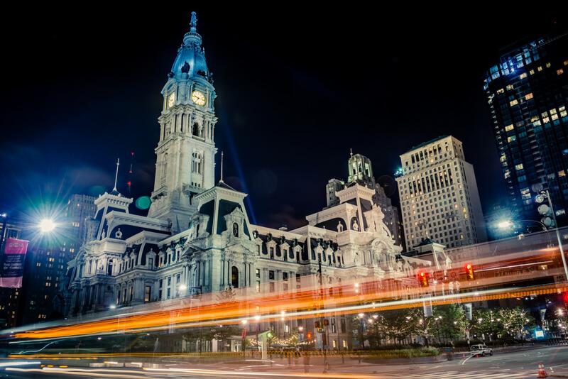 cityscape Philadelphia at night
