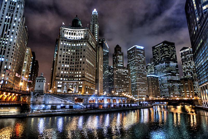 cityscape Chicago at night