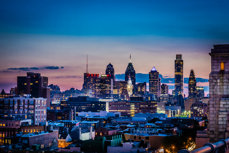 cityscape Philadelphia at night