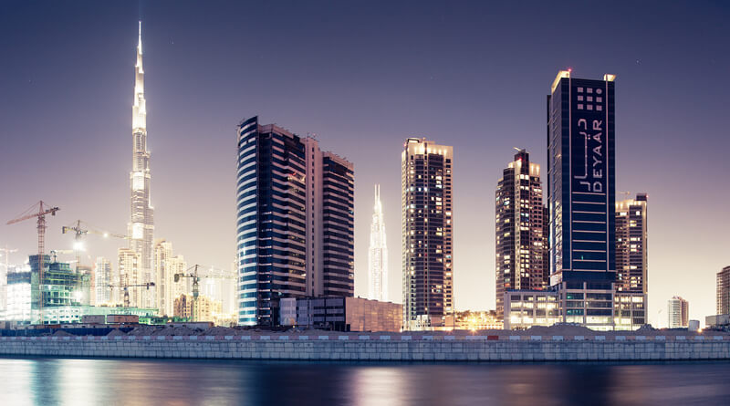cityscape Dubai at night