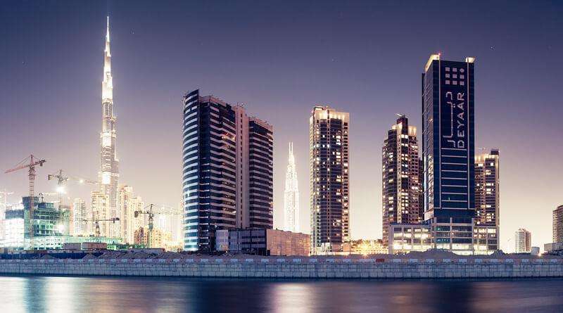 cityscape Dubai at night