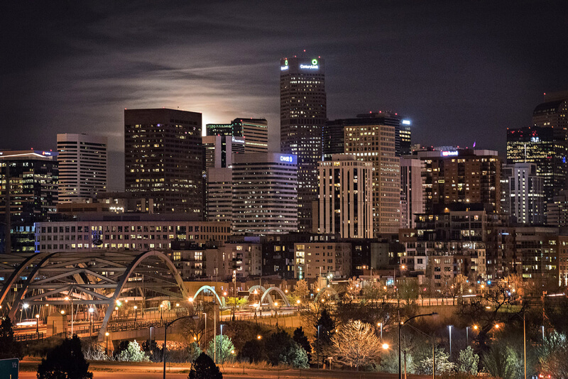 cityscape Denver at night