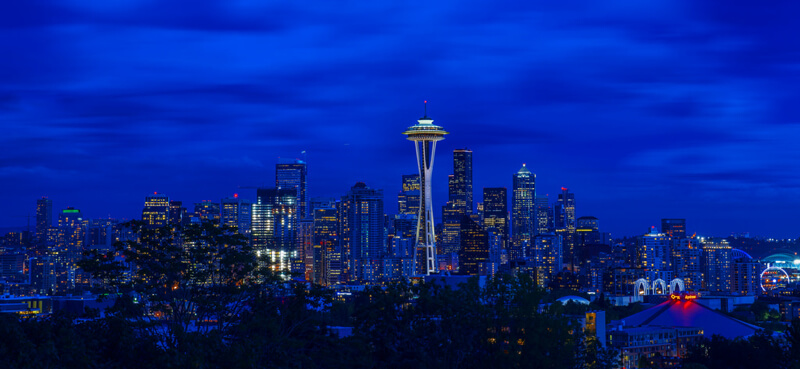 cityscape Seattle at night