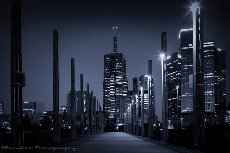 cityscape Melbourne at night