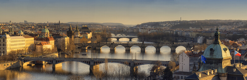 Charles Bridge and two other bridges in Prague, Czech Republic