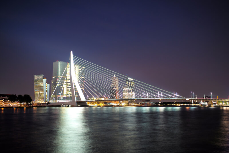 Erasmus Bridge Rotterdam at night