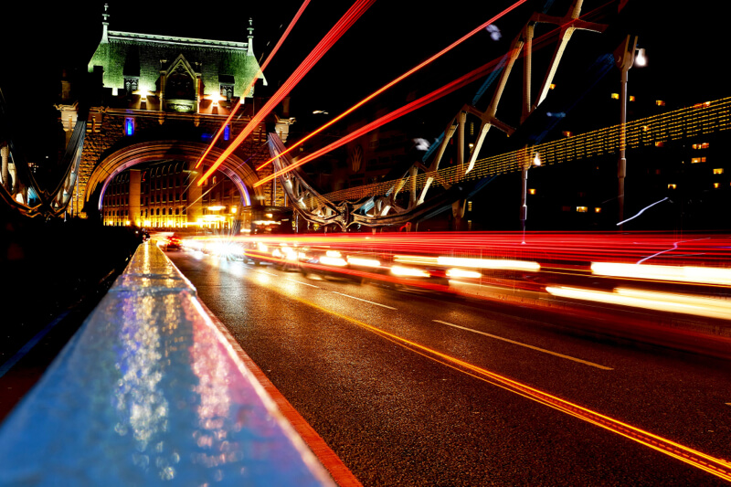 Long exposure of traffic on Tower Bridge London at nIght