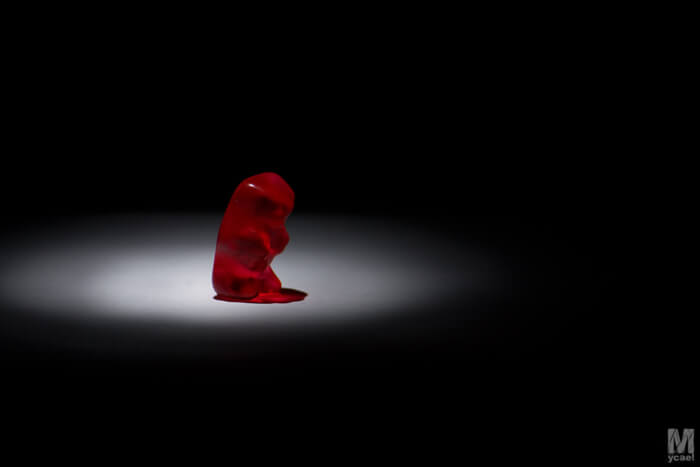 gummy bear under a spotlight
