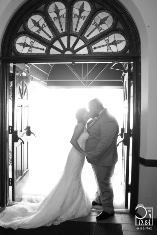 wedding couple bw