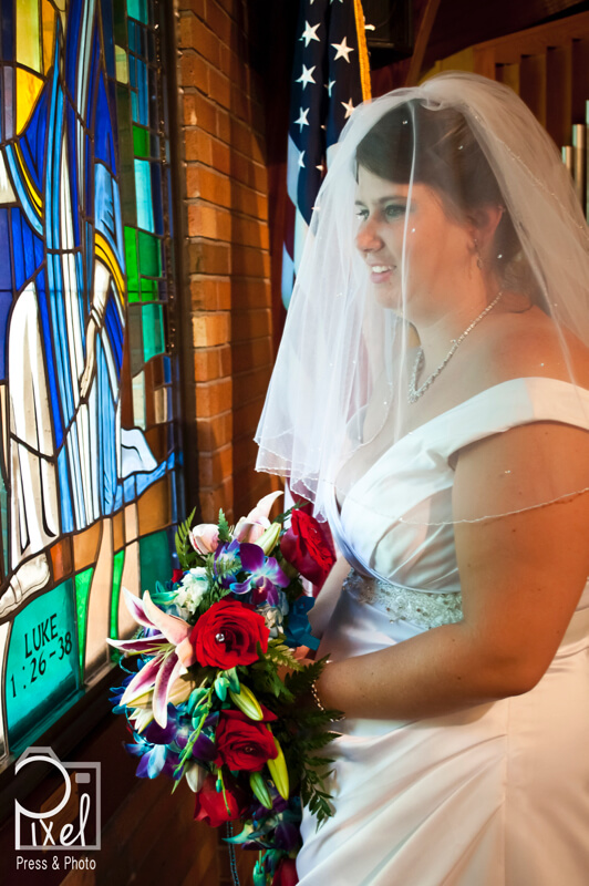 wedding window portrait