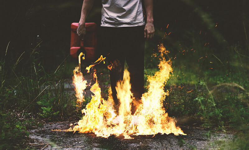 Nate Bittinger gasoline fire