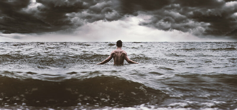 Nate Bittinger man in stormy ocean