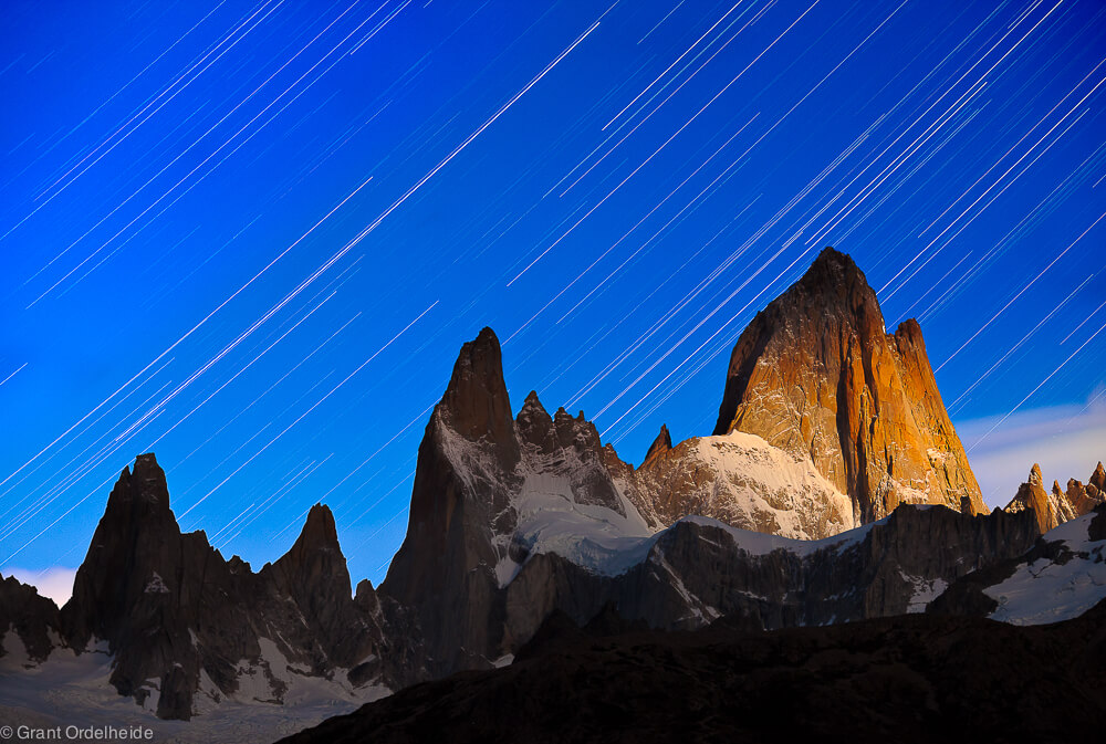 Star trails above a moonlit Mount Fitzroy.