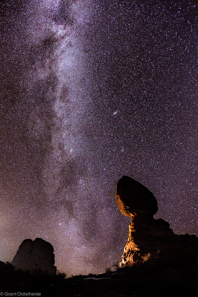 The milky way over Balanced Rock in Utah's Arches National Park.