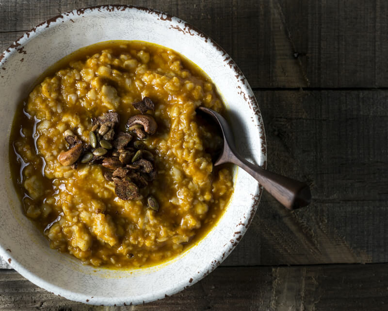 Carol Hart Spiced Pumpkin Steel-Cut Oats with Cashew Crunch