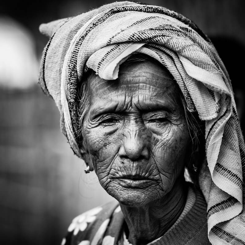 Black and white elderly portrait