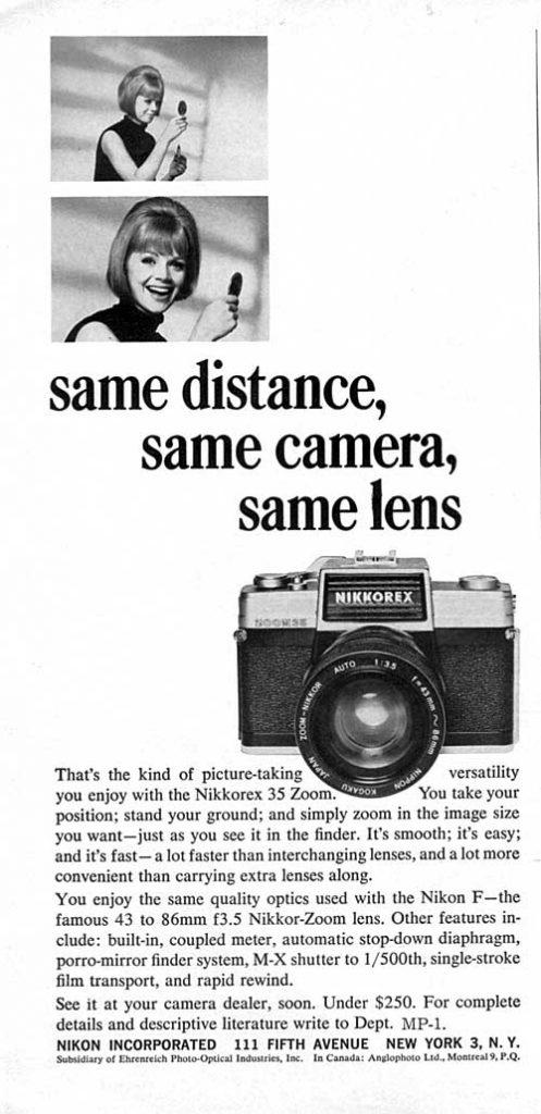 Nikkorex vintage ad 1965