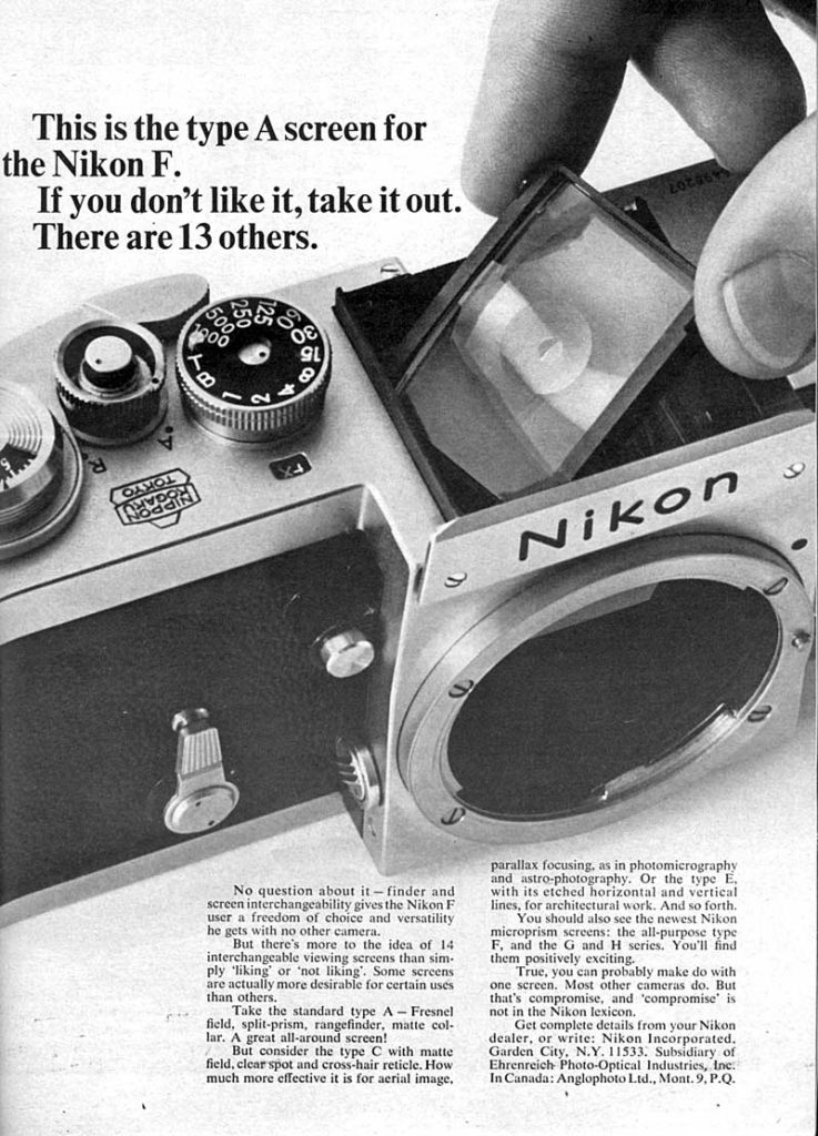 Nikon F Type A Screen 1965