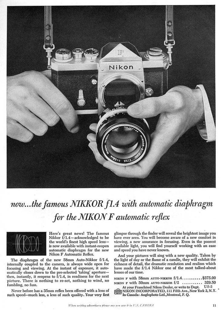 Nikon F automatic reflex 1960