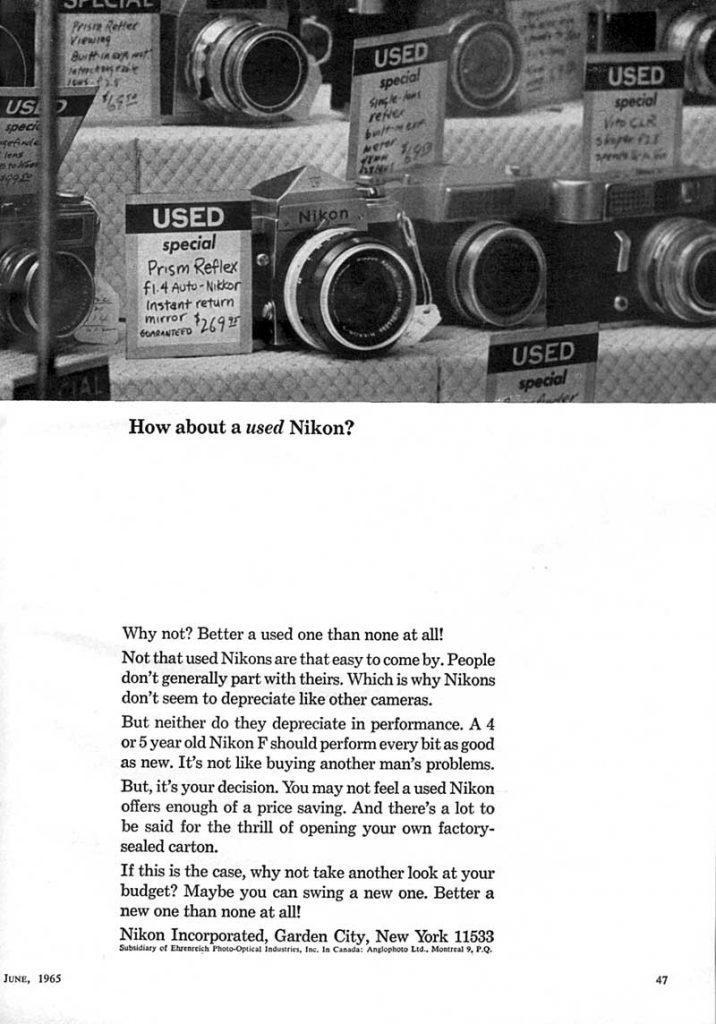 Used Nikon 1965 Ad